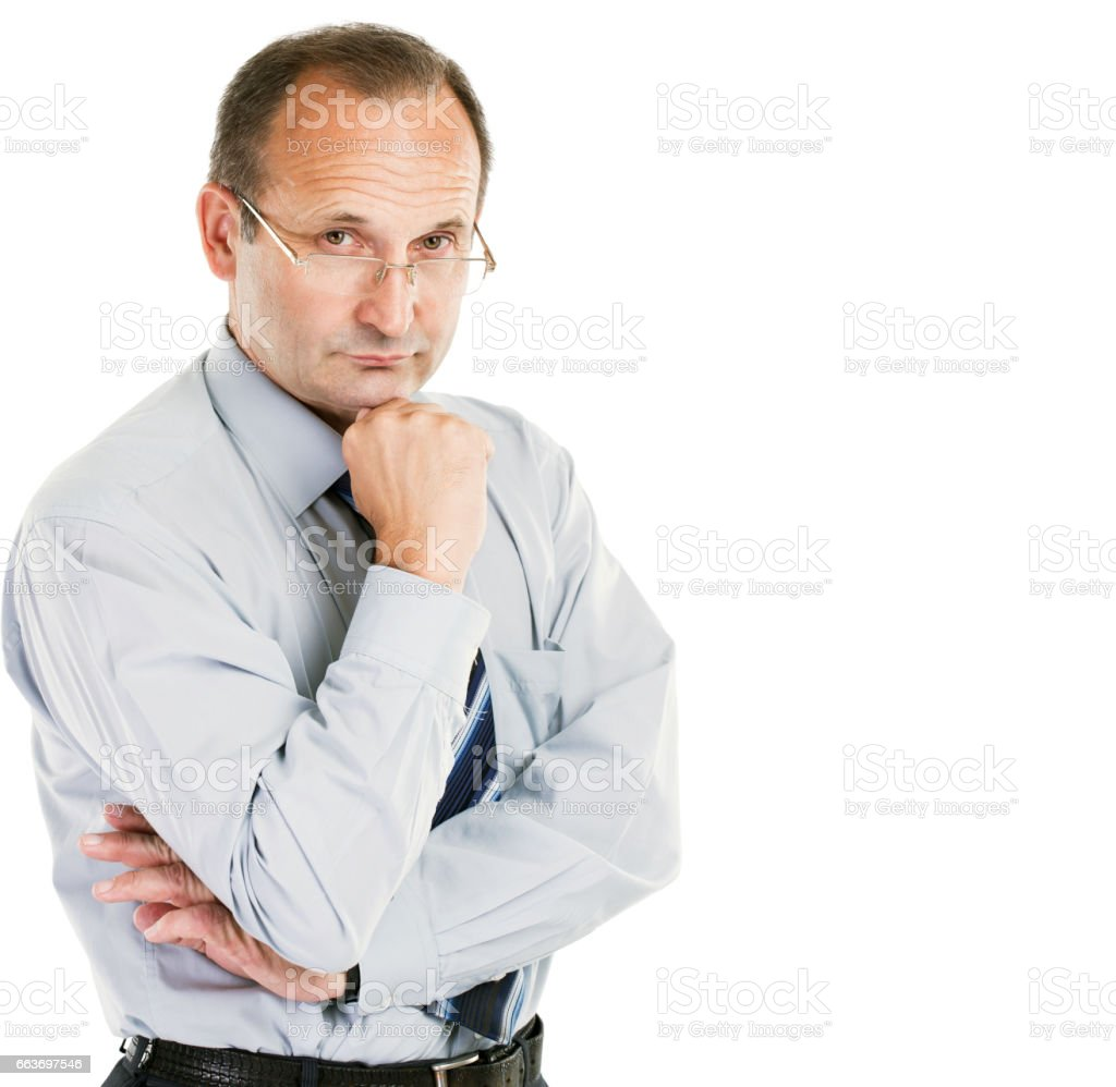 portrait of the psychologist - consultant on white background stock photo