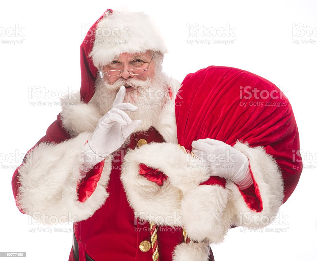 Portrait of the Real Santa Claus carrying gift sack stock photo