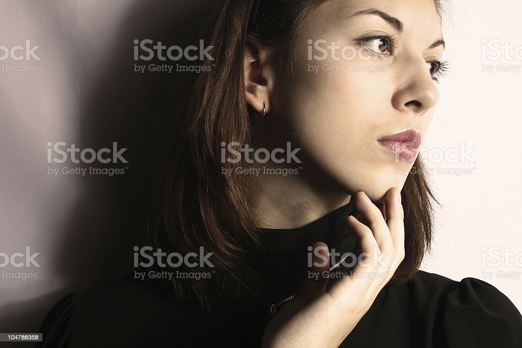 Portrait of the reflected girl. royalty-free stock photo