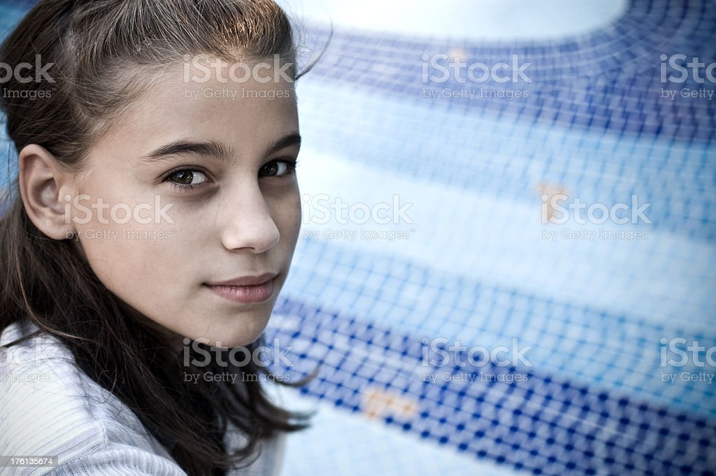 Portrait of the thoughtful girl royalty-free stock photo