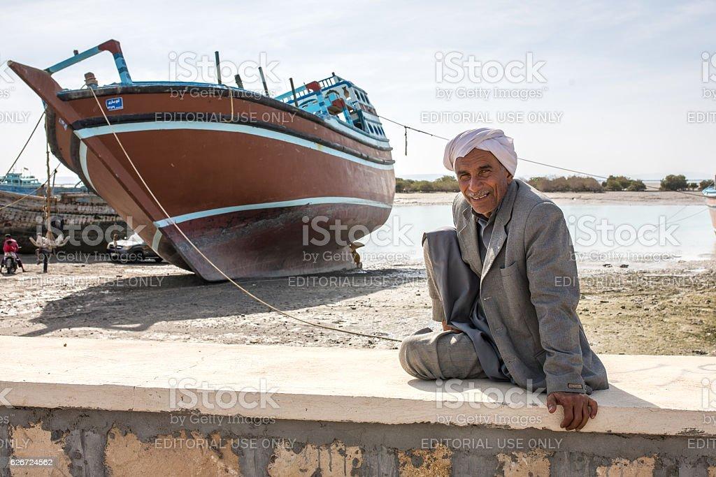 Portrait of the unidentified iranian man on Qeshm island. stock photo