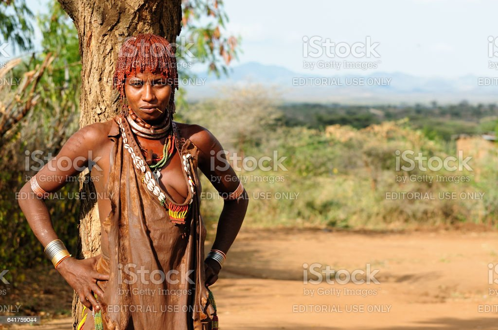 Portrait of the woman from Ethiopia stock photo