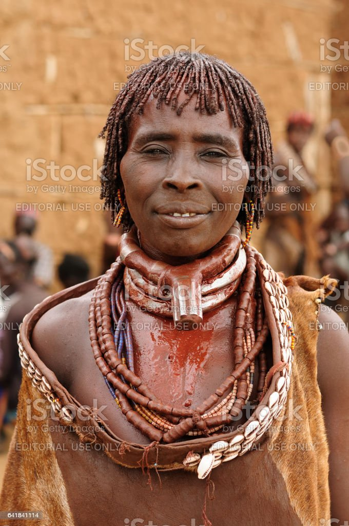 Portrait of the woman from Hamer people stock photo
