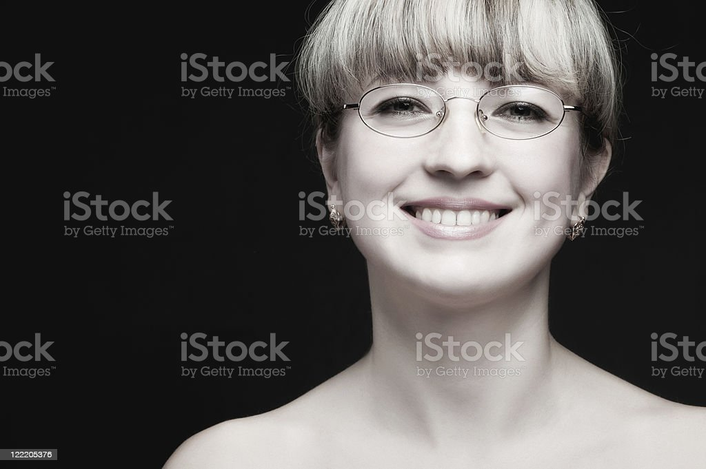 Portrait of the woman in eyeglasses close up royalty-free stock photo