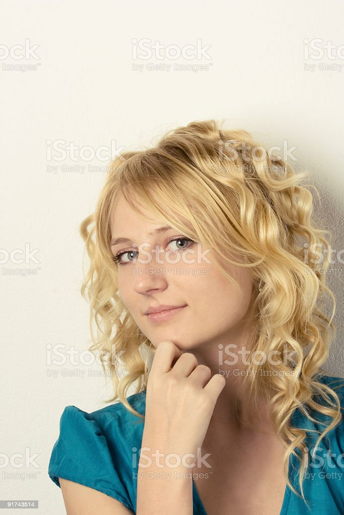 Portrait of the young beautiful girl with a fair hair royalty-free stock photo