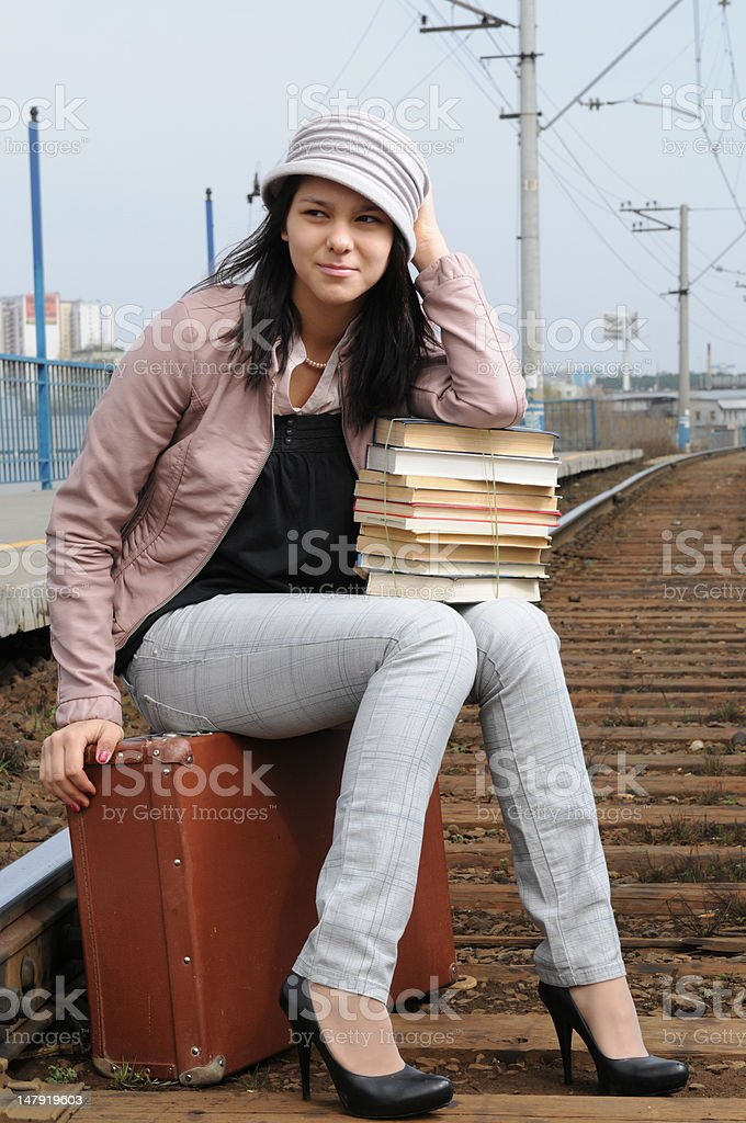 Portrait of the young girl at station royalty-free stock photo