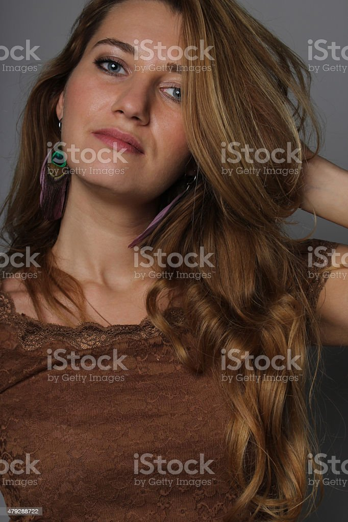 portrait of the young girl of 25 years stock photo
