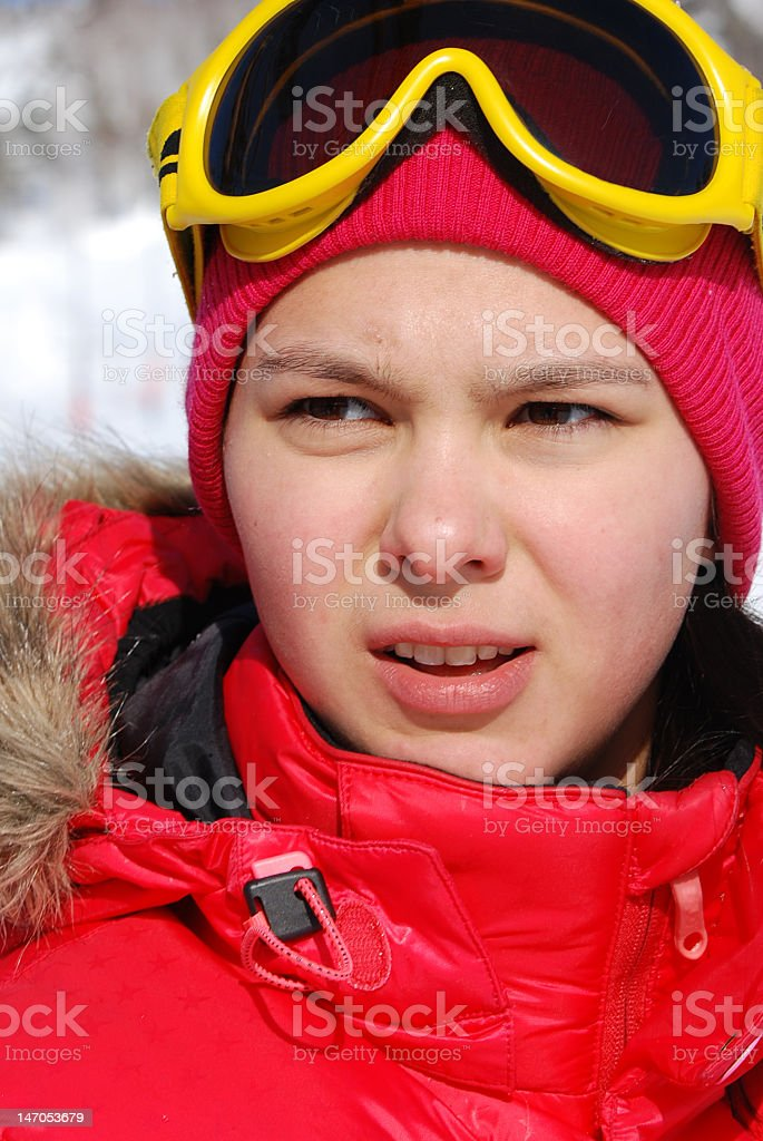 Portrait of the young girl on a snowboard royalty-free stock photo