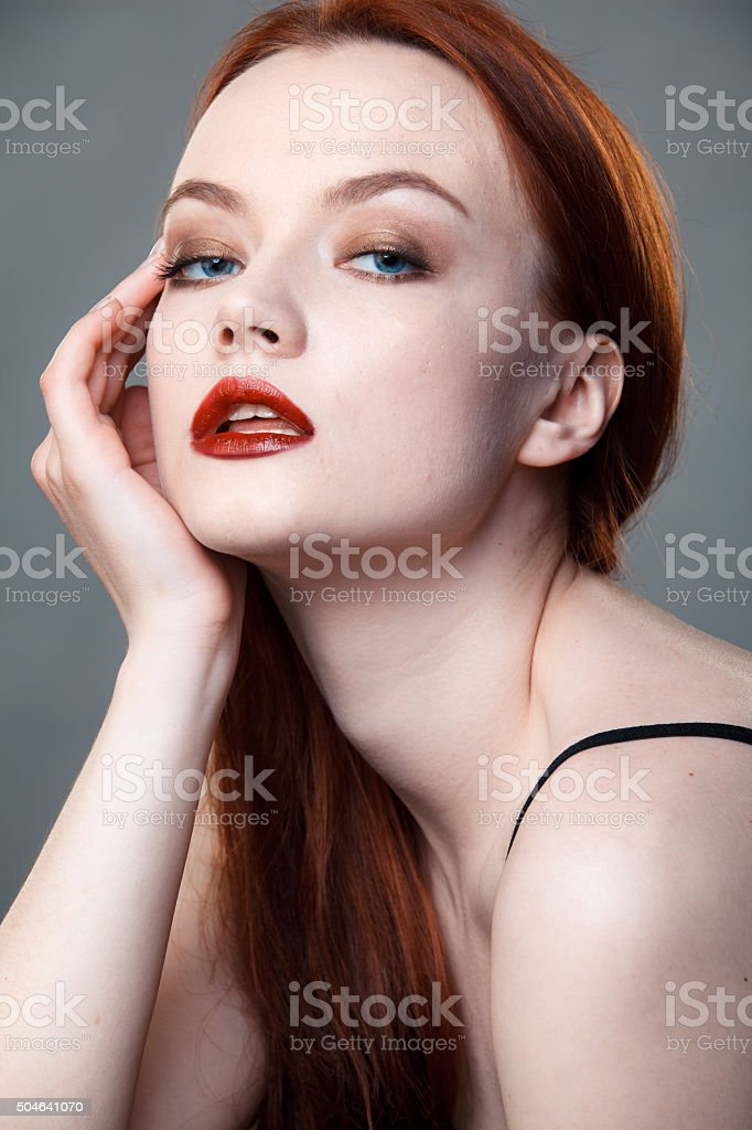 Portrait of the young girl with beautiful skin stock photo