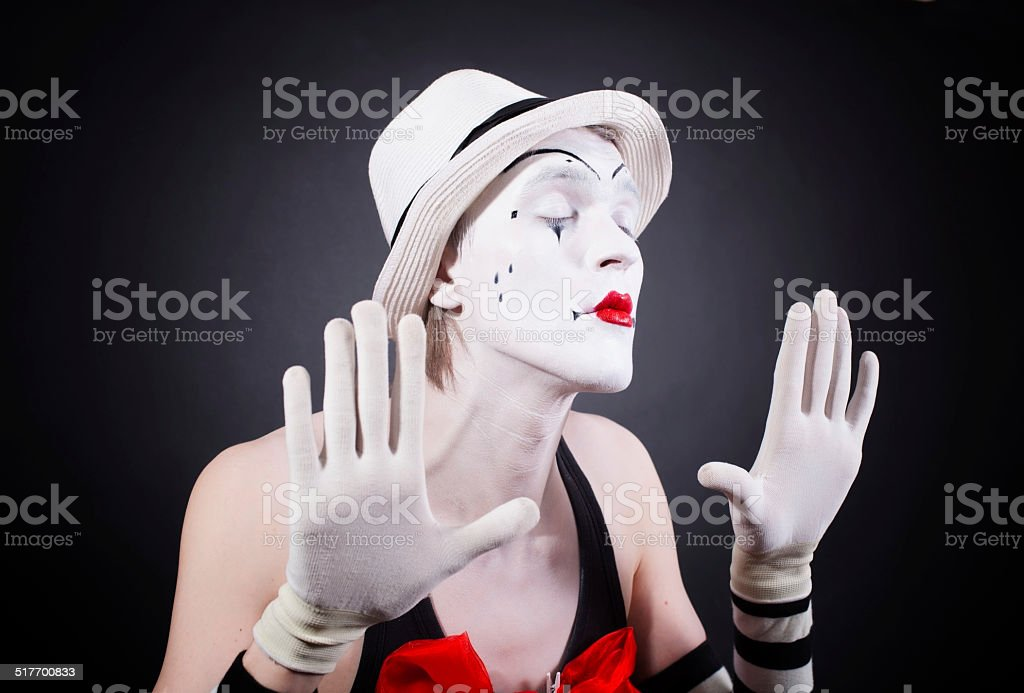Portrait of theatrical mime stock photo