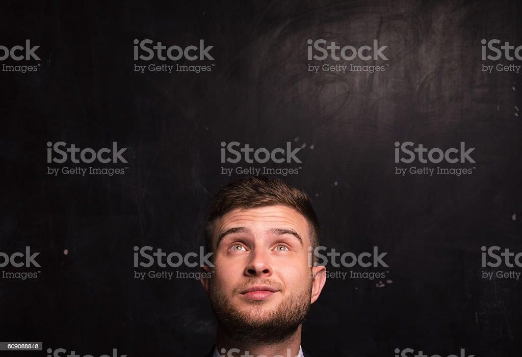 Portrait of thinking man stock photo