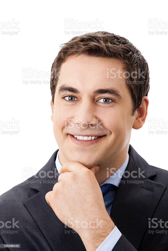 Portrait of thinking mature businessman, isolated on white royalty-free stock photo