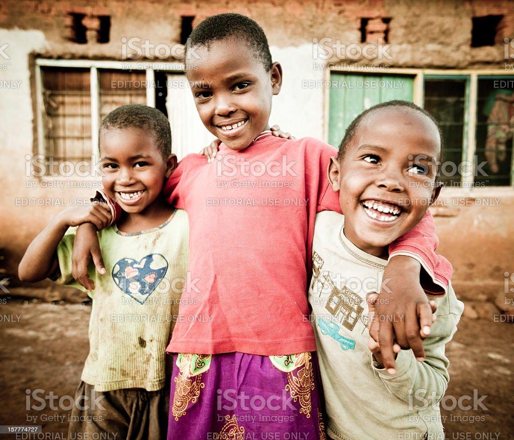 Portrait of Three African Children stock photo