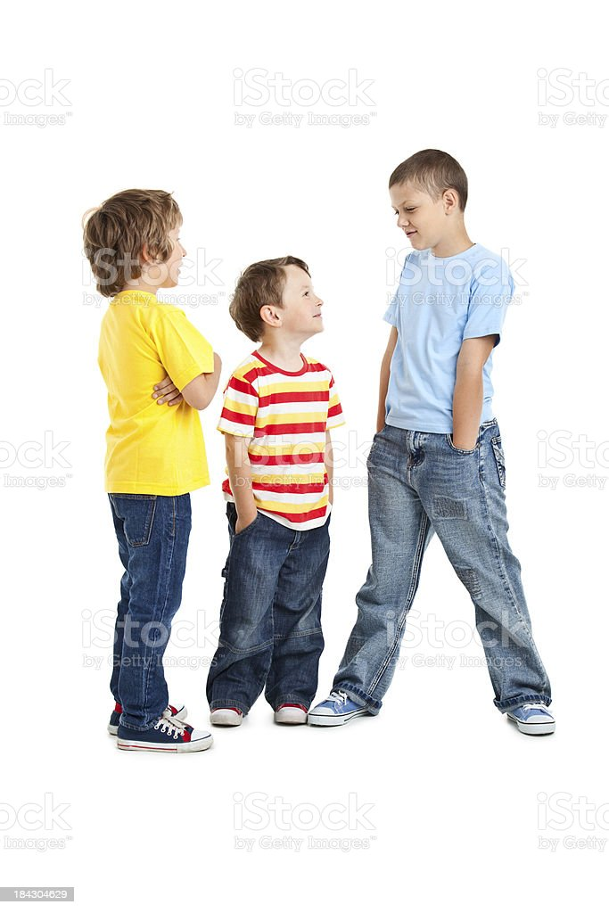 portrait of three boys stock photo