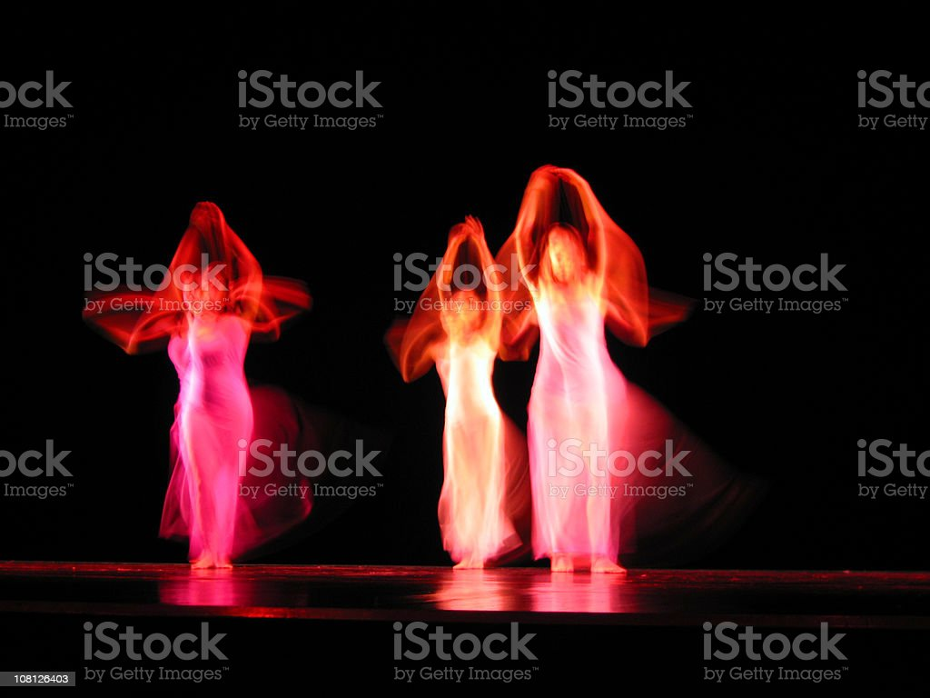 Portrait of Three Dancers on Stage, Motion Blur royalty-free stock photo
