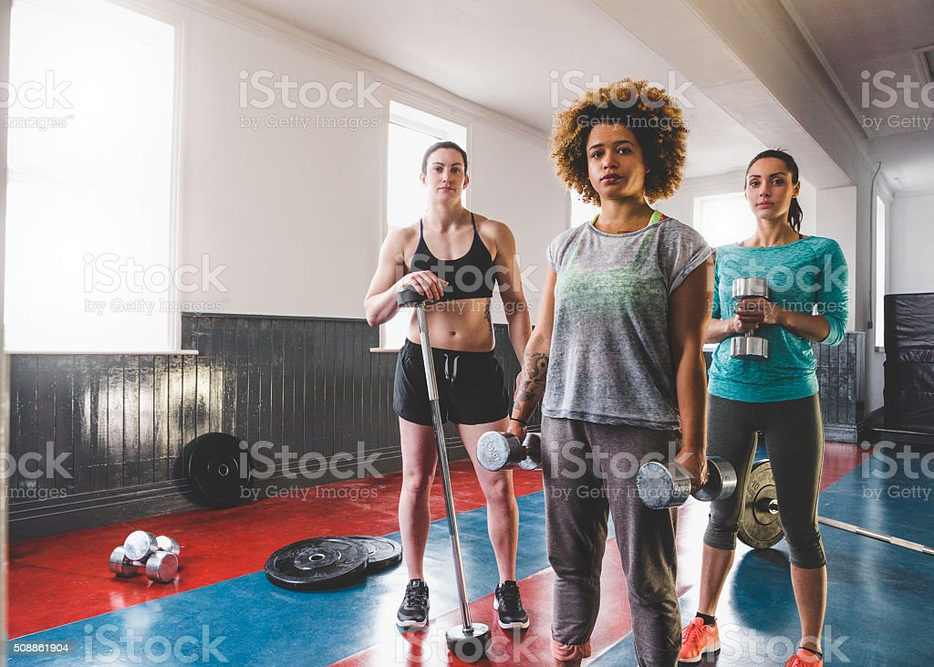 Portrait of Three Female Personal Trainers and Gym Instructors stock photo