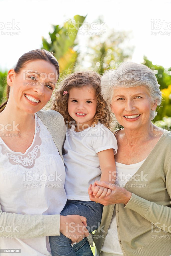 Portrait of three generations of the females in a family royalty-free stock photo