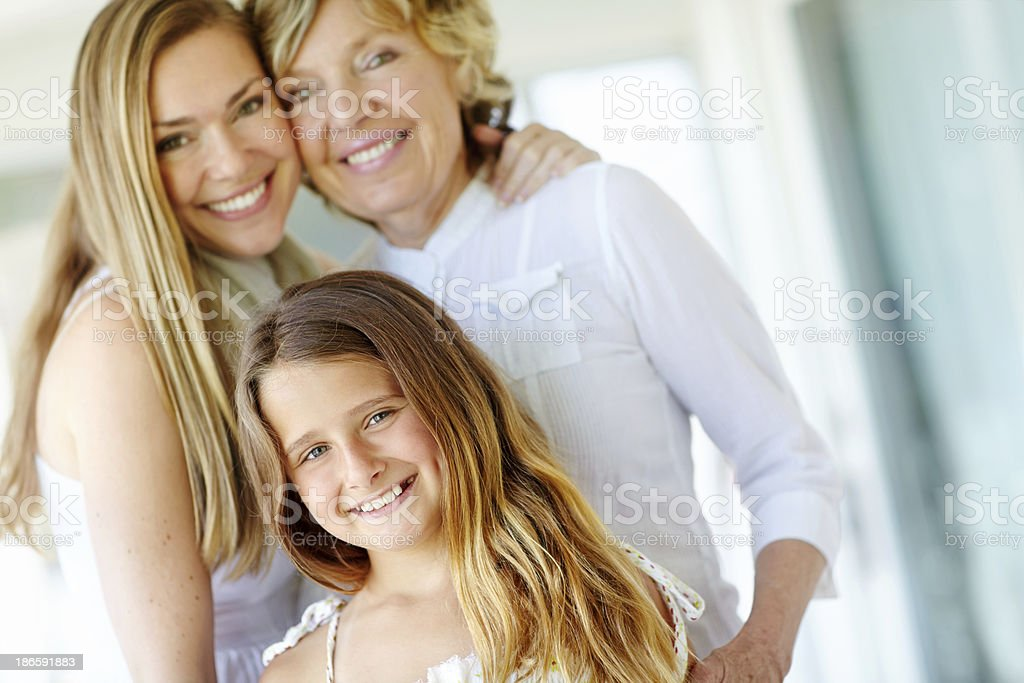 Portrait of three generations royalty-free stock photo