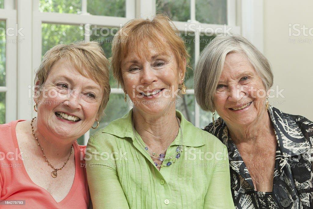 Portrait of three Happy Friendly Senior Women Friends royalty-free stock photo