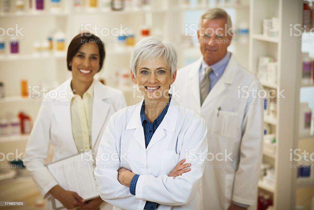 Portrait of Three Pharmacist royalty-free stock photo