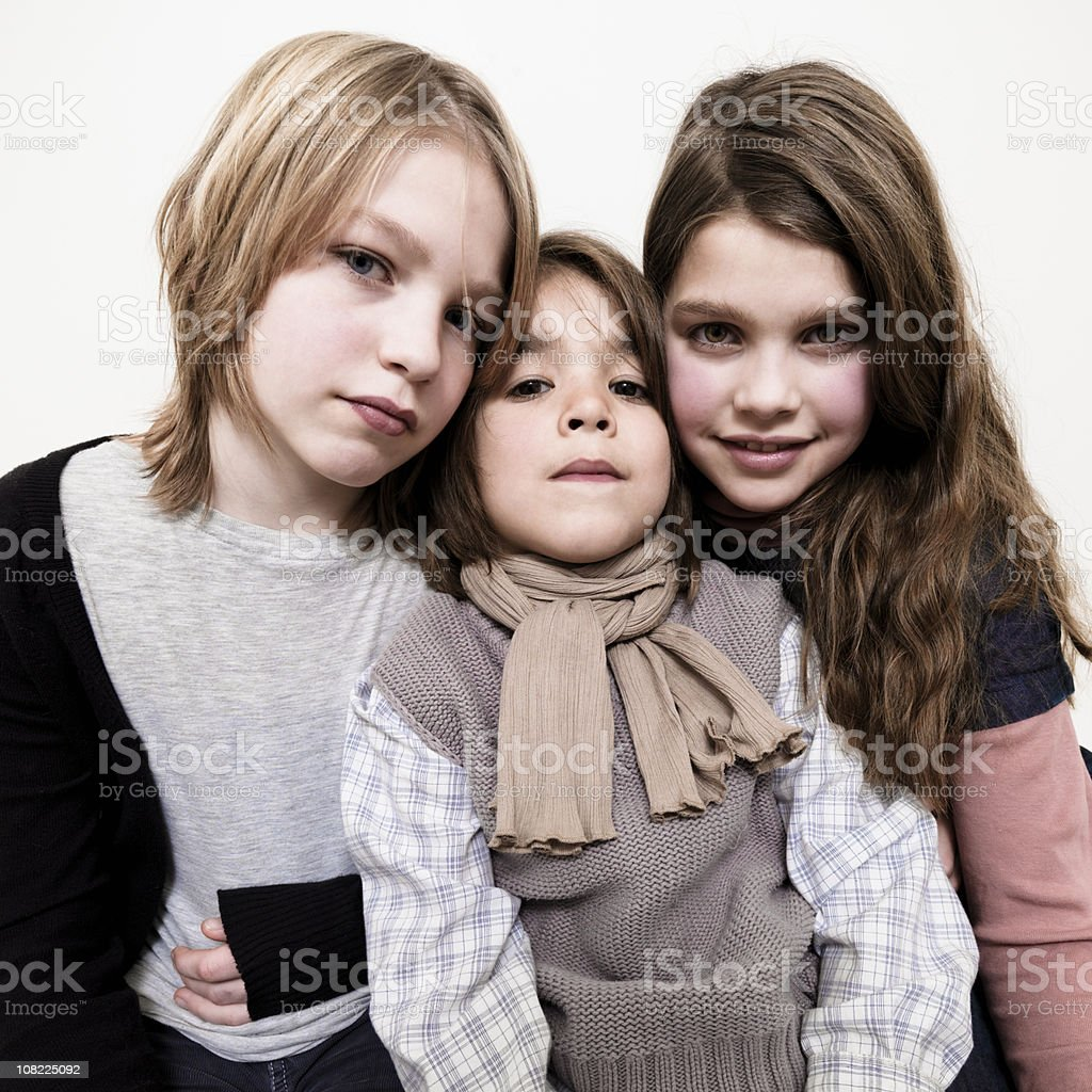 Portrait of Three Young Siblings royalty-free stock photo
