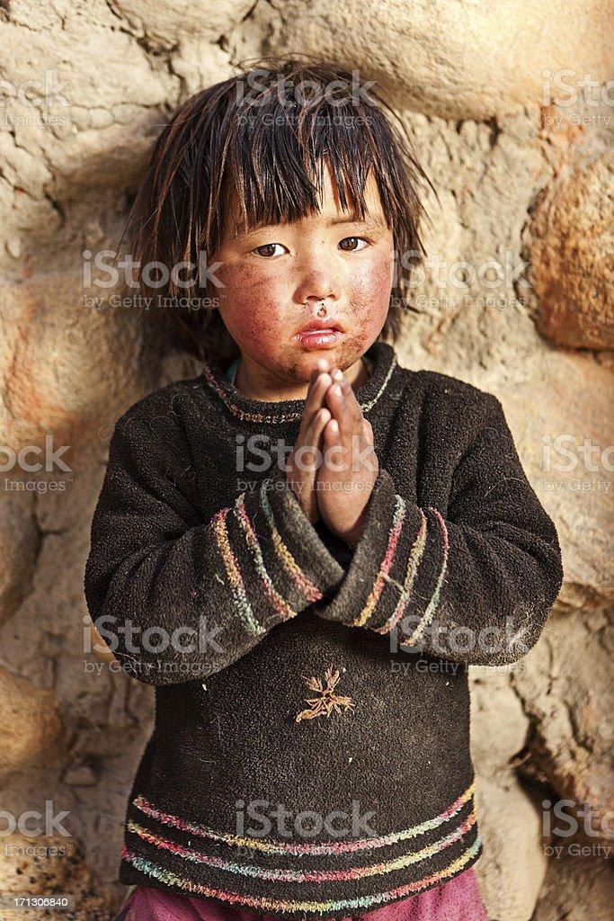 Portrait of Tibetan child stock photo