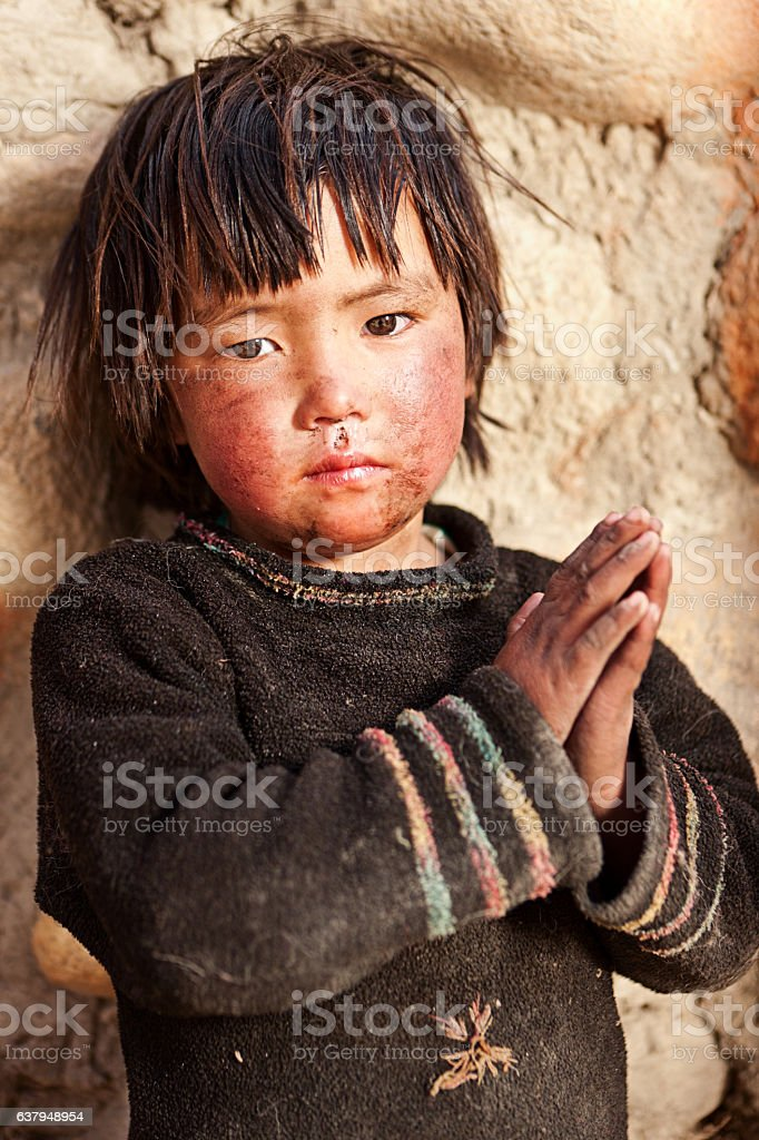 Portrait of Tibetan child stock photo