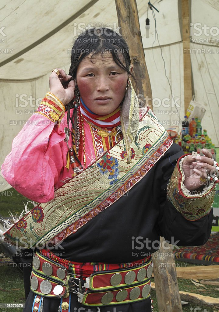 portrait of Tibetan nomad woman stock photo