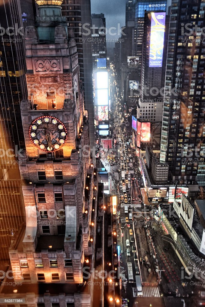 Portrait of Times Square from the 22nd floor stock photo