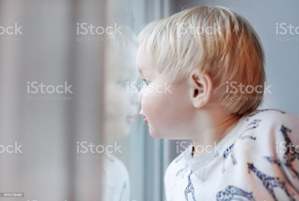 Portrait of toddler boy looking through the window stock photo