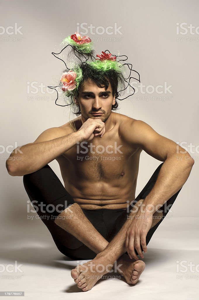 portrait of topless boy with interesting hair royalty-free stock photo