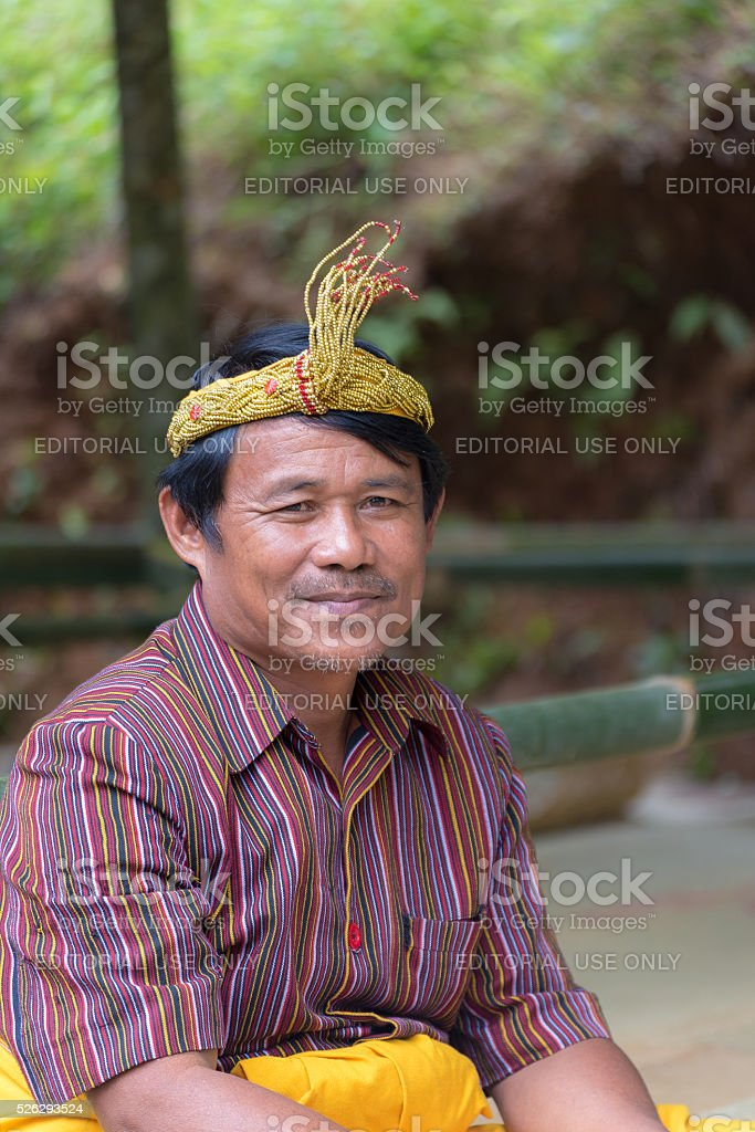 Portrait of Toraja People in traditional attire stock photo