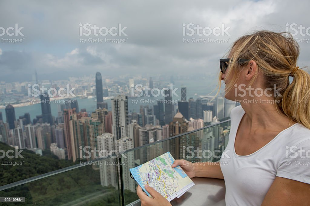 Portrait of tourist in Hong Kong at Victoria peak stock photo