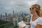 Portrait of tourist in Hong Kong at Victoria peak