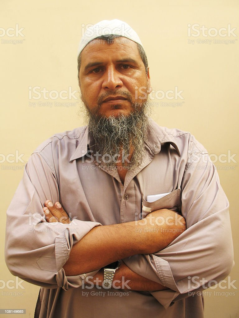 Portrait of Traditional Muslim Man with Beard stock photo