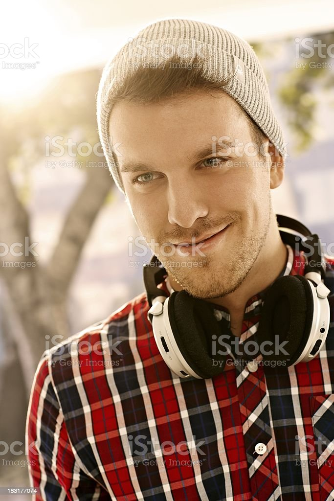 Portrait of trendy young man smiling royalty-free stock photo