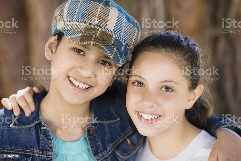 Portrait Of Tween Girlfriends stock photo