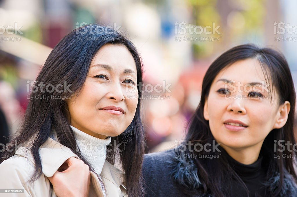 Portrait of two Beautiful Asian Woman stock photo