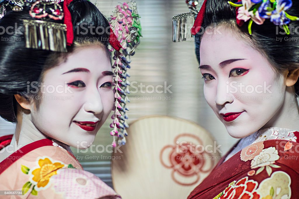 Portrait of two beautiful maikos stock photo
