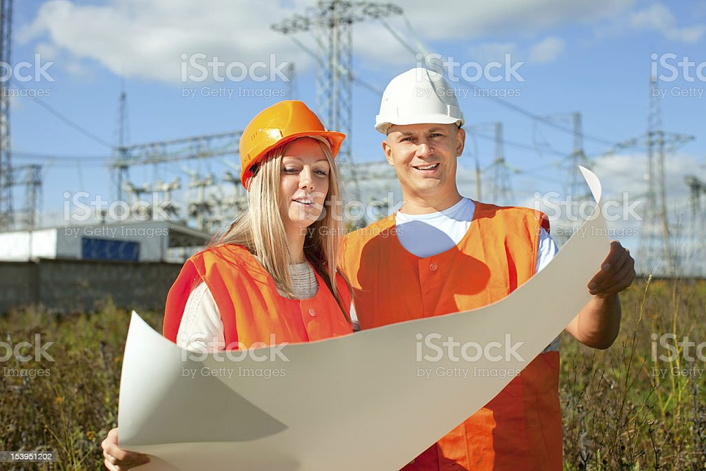 Portrait of two builders royalty-free stock photo