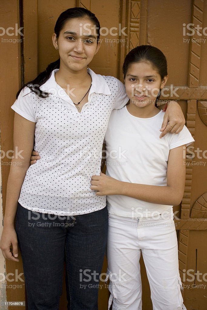 Portrait of Two cheerful Indian Sisters royalty-free stock photo