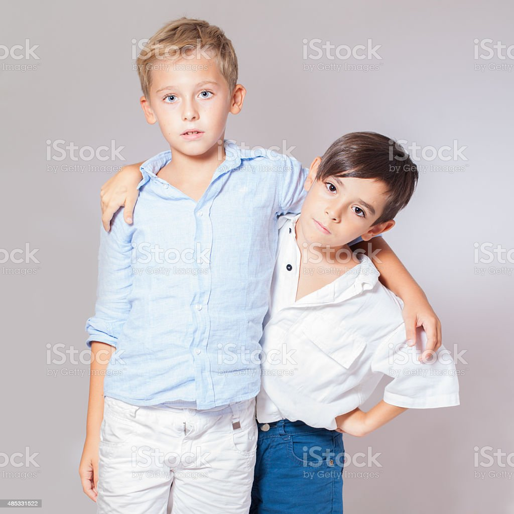 Portrait of  two children boys friends stock photo