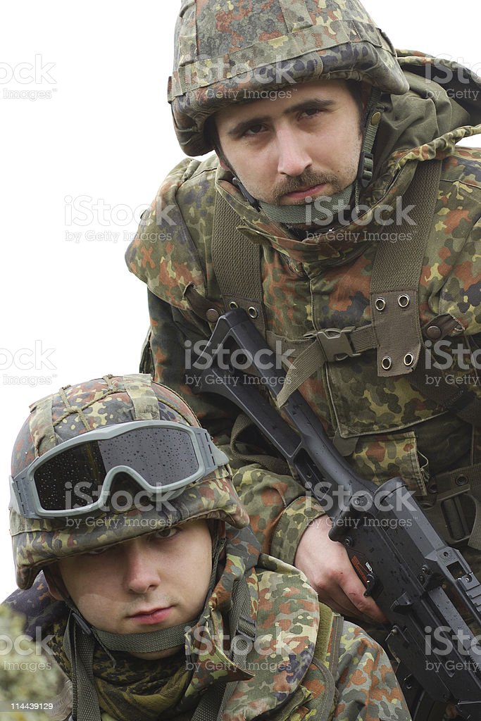 Portrait of two equiped soldiers royalty-free stock photo