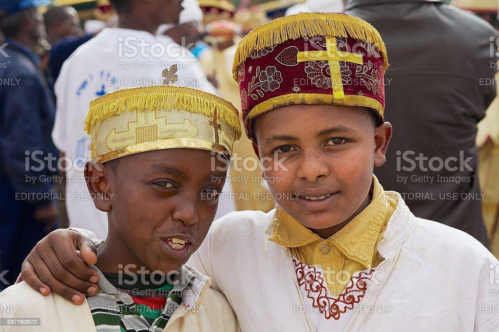 Portrait of two Ethiopian boys in Addis Ababa, Ethiopia. stock photo