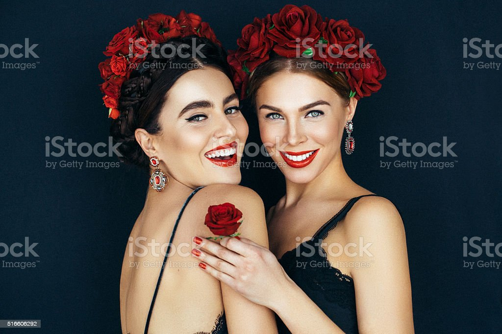 Portrait of two fresh and lovely women stock photo