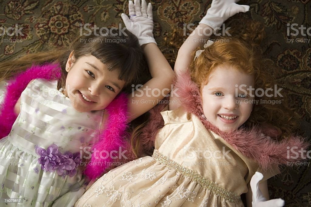 Portrait of two girls royalty-free stock photo
