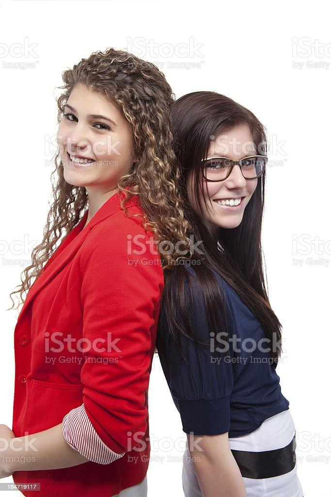 Portrait Of Two Happy Friends royalty-free stock photo