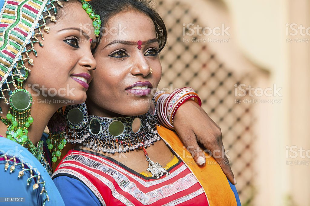 Portrait of two indian women royalty-free stock photo