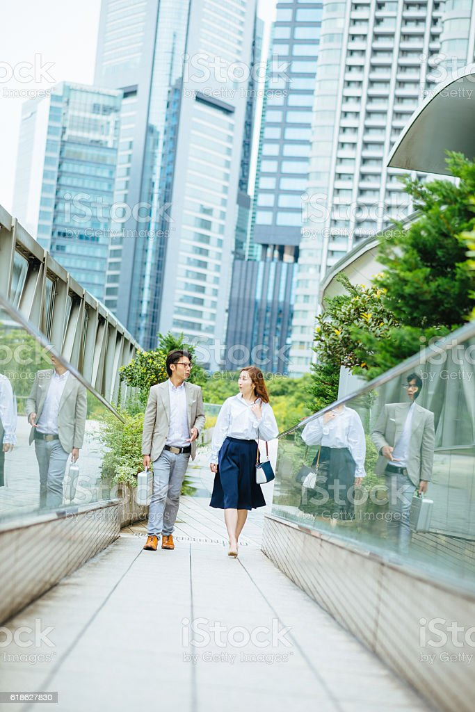 Portrait of two Japanese business people stock photo