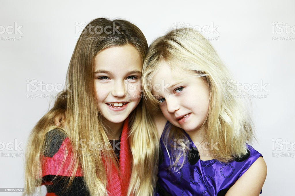 Portrait of Two Little Girls royalty-free stock photo
